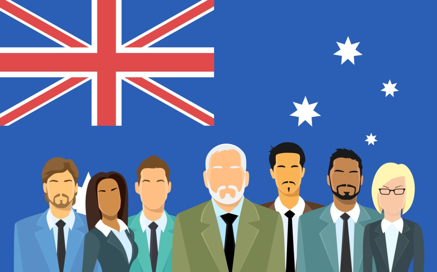 Business people with Australian flag in background