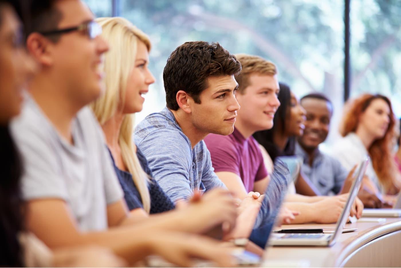 University students listening in class