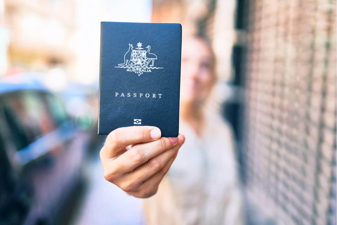 Woman holding Australian passport